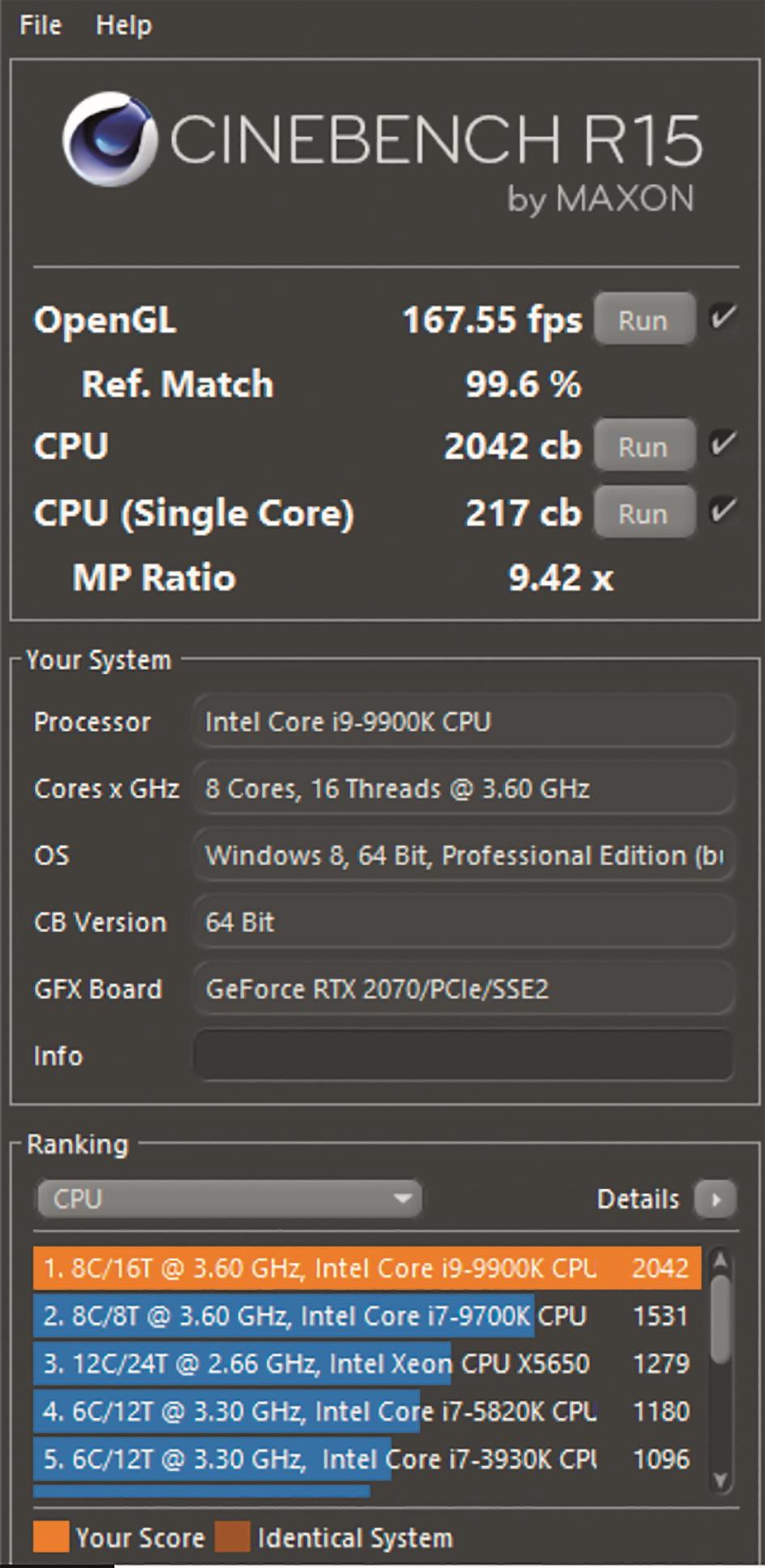 Die RTX 2070 Grafikkarte erreichte mit 167 Bildern pro Sekunde den Cinebench-15-OpenGL-Spitzenwert.