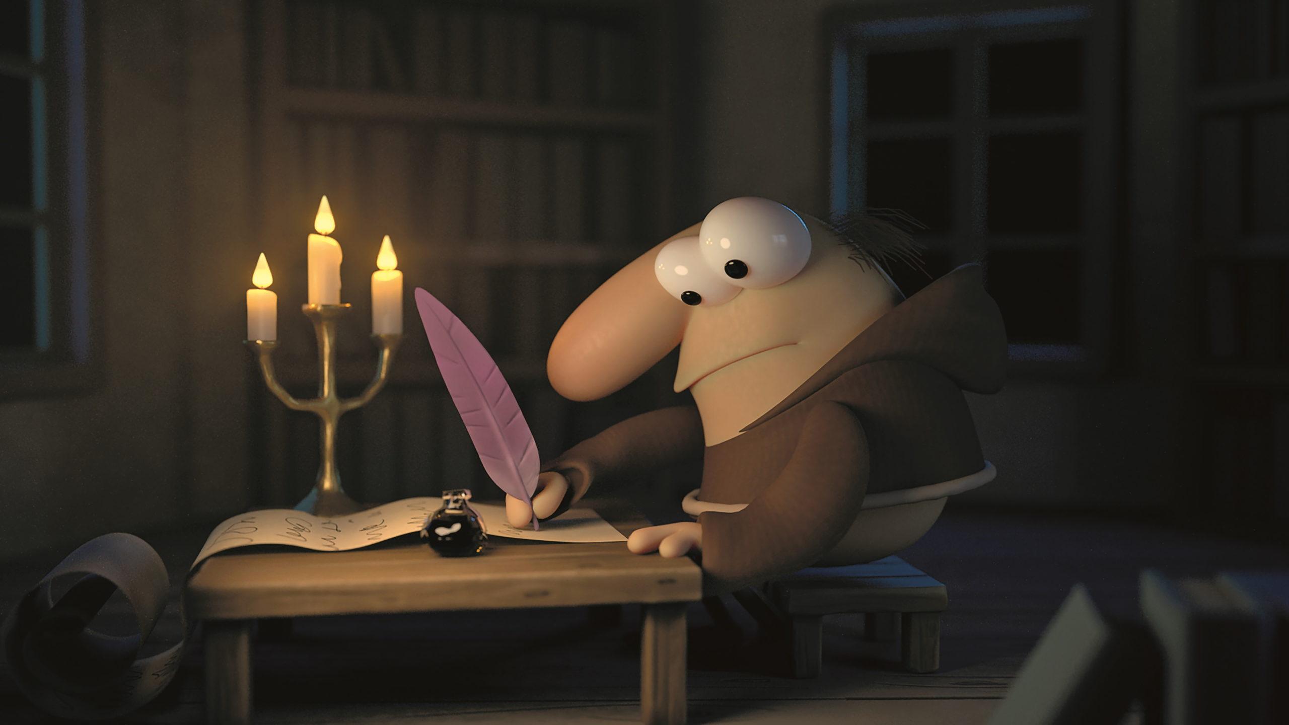 Das Licht der Kerzenflammen erzeugten die Artists mit animierten Geometrien, einem emissiven Shader sowie softem Glow.