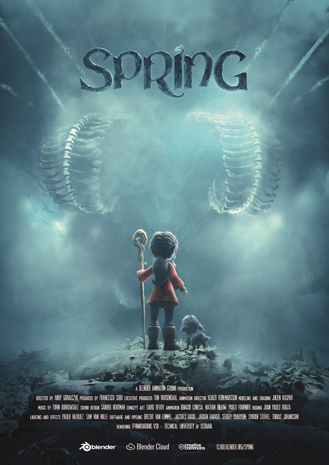 Das alternative Filmplakat zu Spring, dem neuesten Open Movie des Blender Animation Studios.