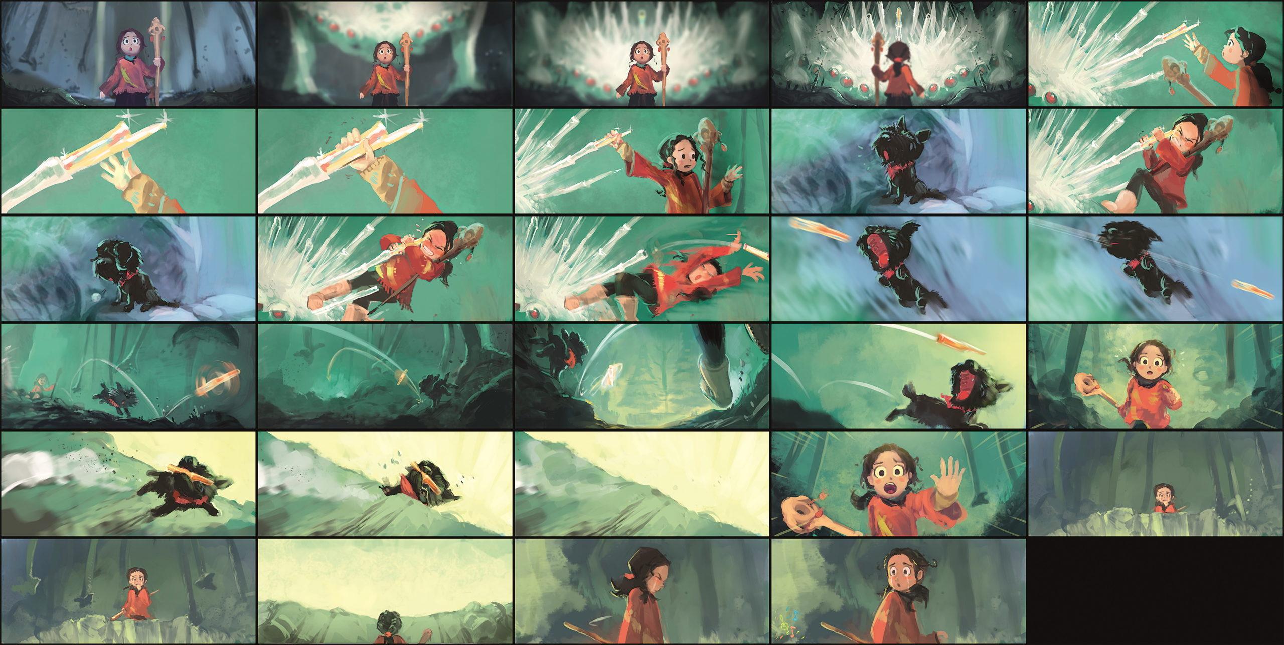 Die zentrale Sequenz des Films als Storyboard. Man erkennt, dass im Laufe des Films noch einige Änderungen vorgenommen wurden.