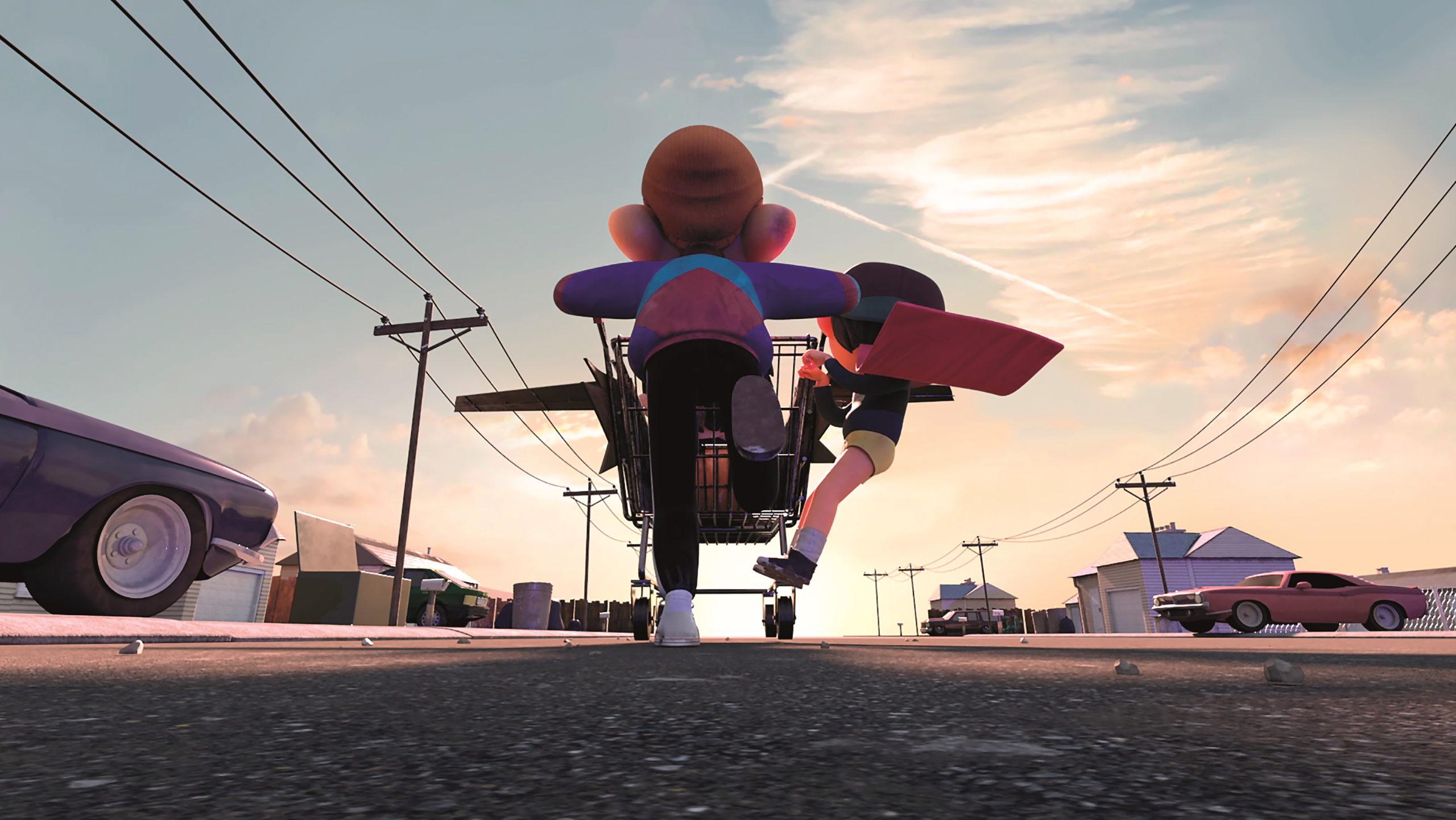 Für die Himmel nahm das Team hochaufgelöste Bilder von Unsplash, die sie für den Film entsprechend anpassten.