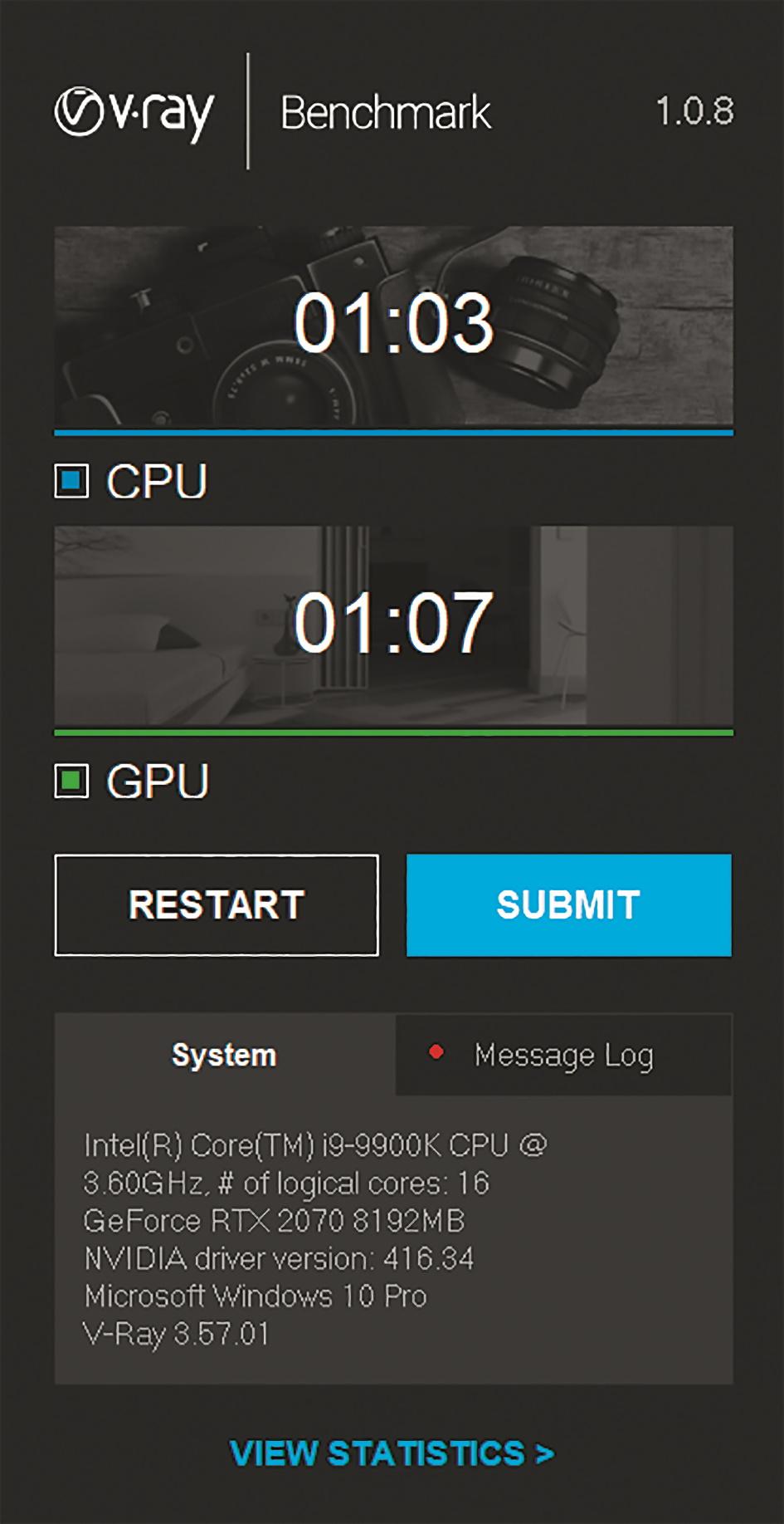V-Ray: Nur zwei Sekunden Unterschied zur Xeon CPU mit 10 Kernen beim V-Ray-CPU-Test.