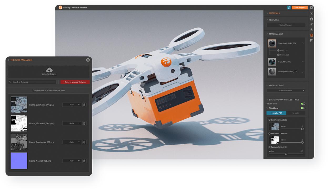 Beispiel der Lens Suite - Einstellung von Texture Maps