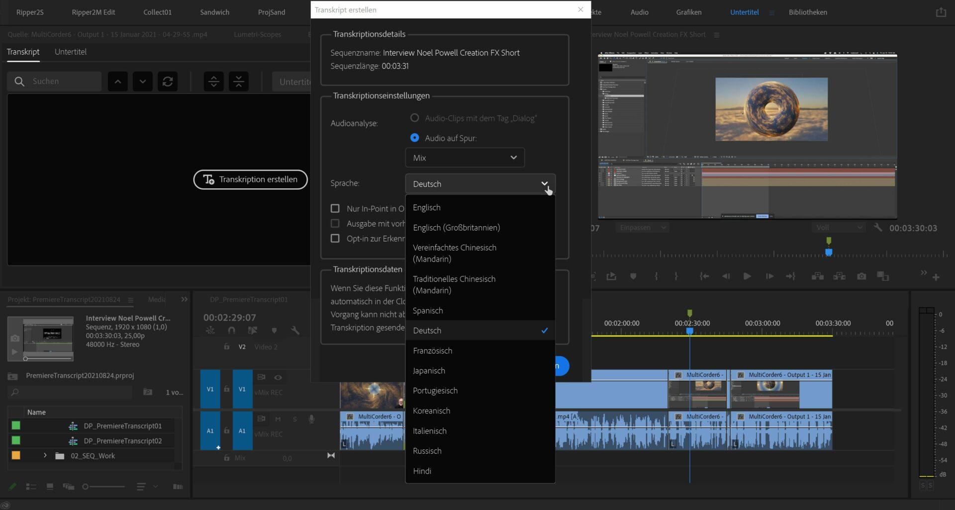 Nachdem die Sprache ausgewählt und das Transkribieren gestartet wurde, wird automatisch ein Audiofile gerendert und in die Adobe Cloud hochgeladen.