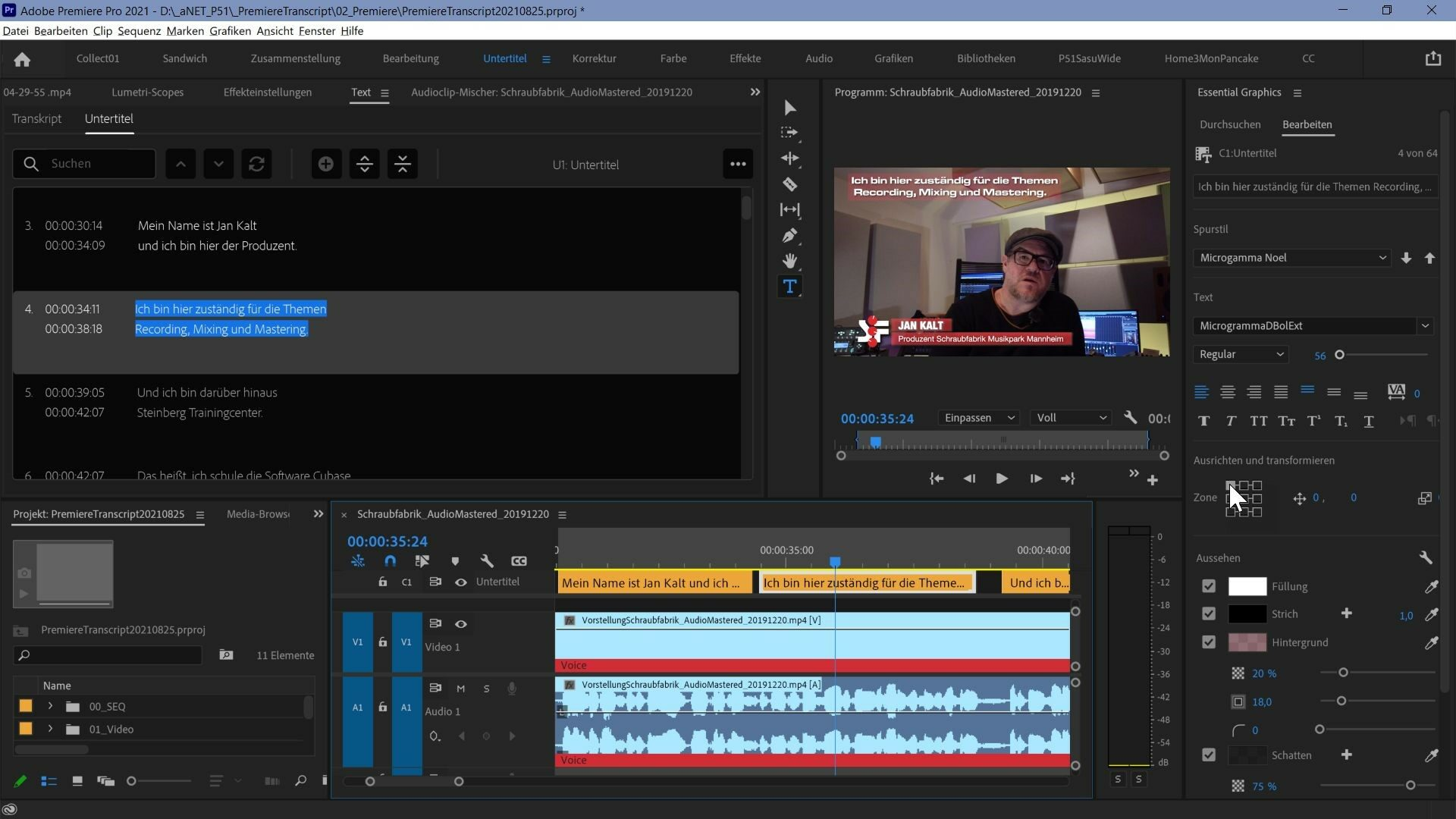 Wenn nun einige Untertitel modifiziert werden sollen, können einzelne oder mit der Shift Taste auch mehrere ausgewählt und im Essential Graphics Fenster editiert werden um zum Beispiel bei einem Sprecher die Farbe des Texthintergrunds zu ändern. Bei einer Überlagerung mit einem Namensinsert können Untertitel auch anders positioniert werden.